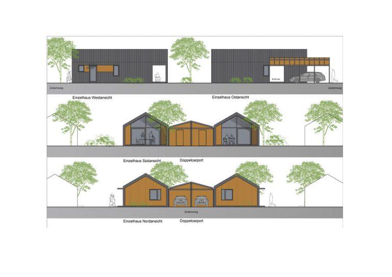 Einzelhaus mit Carport West- und Ostansicht