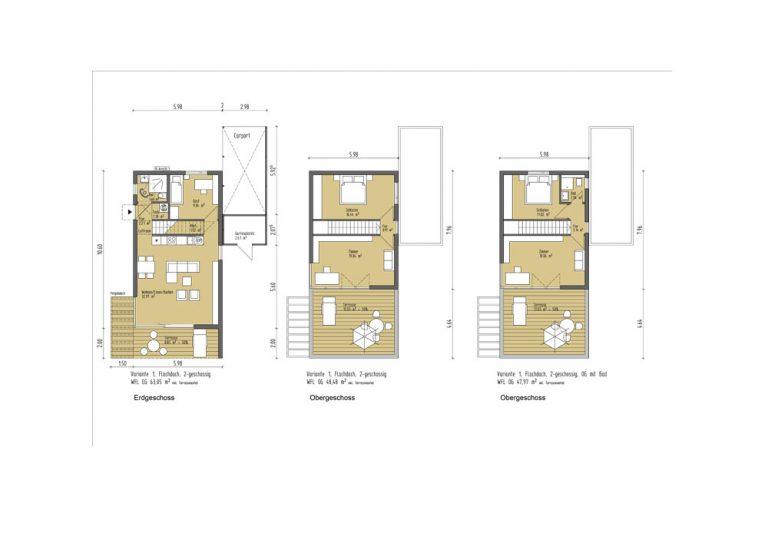 Einzelhaus 2-geschossig Erdgeschoss und Obergeschoss alternativen